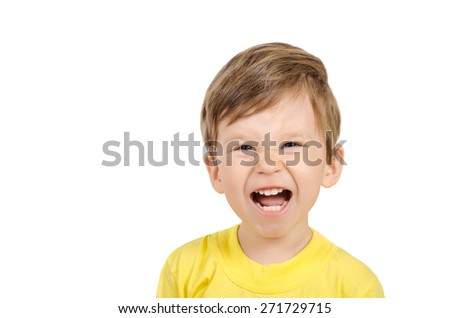 Closeup portrait of a cute laughing little boy isolated on white background - stock photo