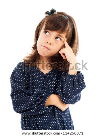 Closeup portrait of a cute little girl thinking isolated on white - stock photo