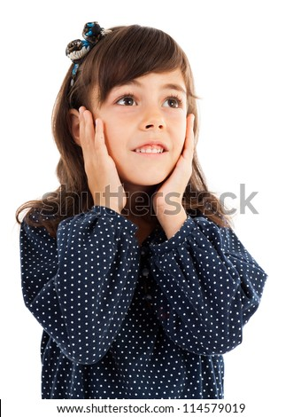 Closeup portrait of a cute little girl with surprised facial expression isolated on white - stock photo