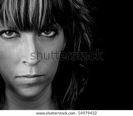 closeup portrait of a cute young woman, white background