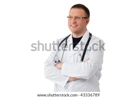 closeup portrait of a doctor isolated on white background