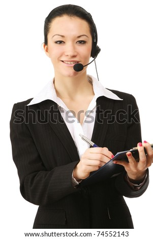 Closeup portrait of a friendly customer service girl - stock photo