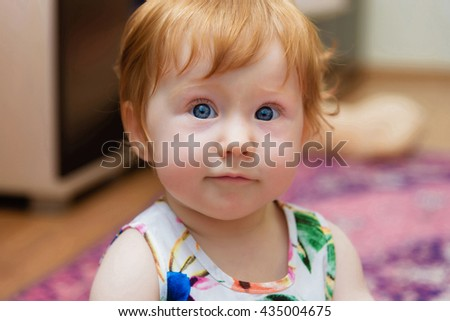 closeup portrait of a girl toddler