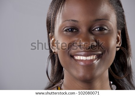 Closeup portrait of a gorgeous South African woman - stock photo