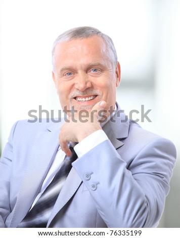 Closeup portrait of a handsome senior man - stock photo