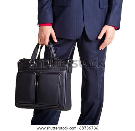 Closeup portrait of a handsome young businessman with bag  Isolated on white background