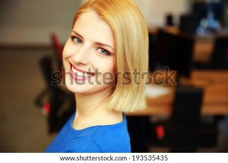Closeup portrait of a happy beautiful woman - stock photo