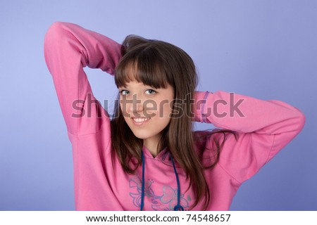 Closeup portrait of a happy beautiful young woman - stock photo