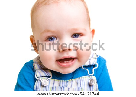 Closeup portrait of a happy curious baby boy - stock photo
