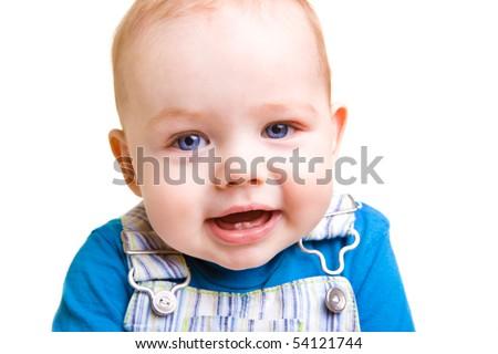 Closeup portrait of a happy curious baby boy - stock photo