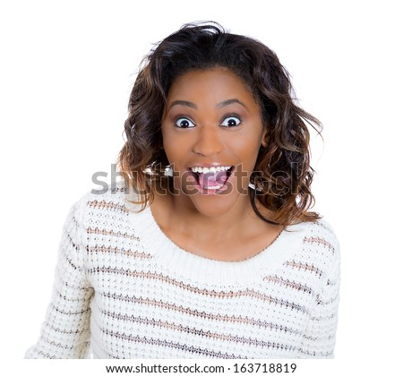 Closeup portrait of a happy cute young beautiful woman looking shocked and surprised in disbelief, mouth and eyes wide open, isolated on white background. Positive human emotion facial expression - stock photo