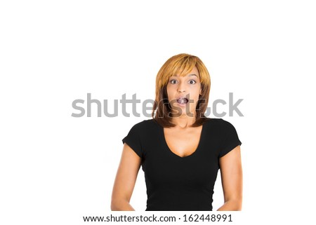 Closeup portrait of a happy cute young beautiful woman looking shocked and surprised in full disbelief, isolated on a white background with copy space. Positive human emotions and facial expressions - stock photo