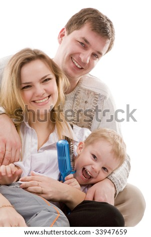 closeup portrait of a happy family on a white background - stock photo