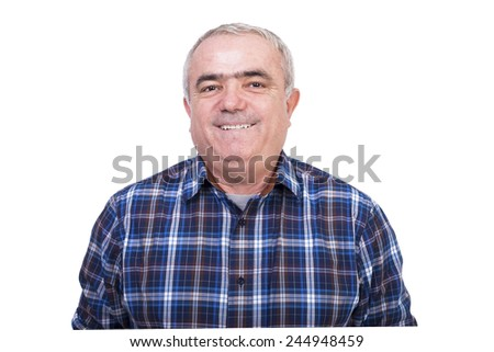 Closeup portrait of a happy  man isolated over white background - stock photo
