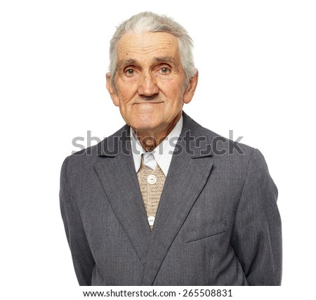Closeup portrait of a happy senior man isolated on white background - stock photo