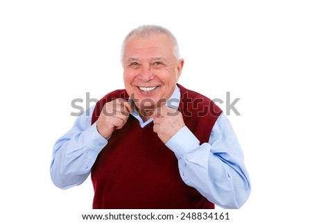 Closeup portrait of a happy smile senior old man with white teeth isolated white background - stock photo