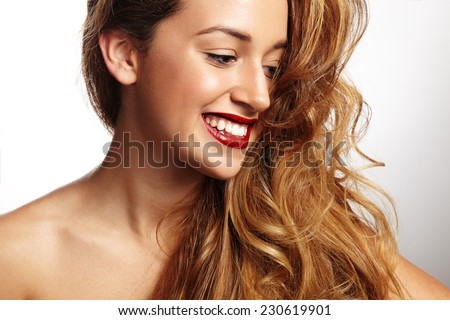 closeup portrait of a happy smiling woman