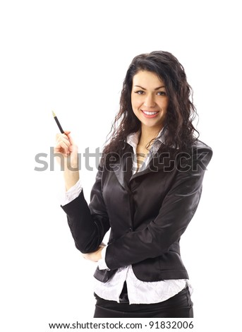 Closeup portrait of a happy young business woman smiling isolated on white background - stock photo