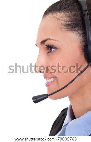closeup portrait of a happy young lady with headset isolated on white background - stock photo