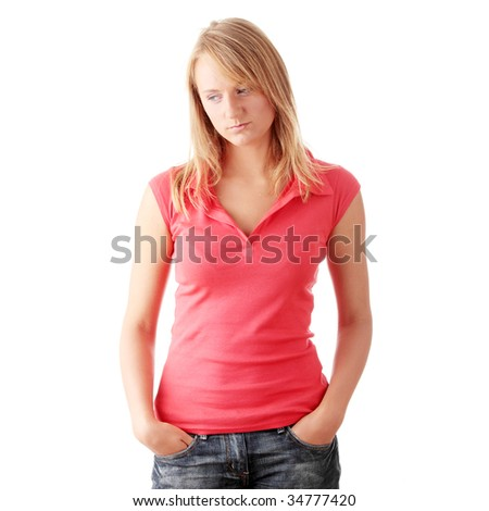 Closeup portrait of a happy young woman isolated on white background - stock photo