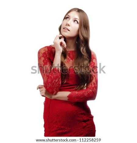 Closeup portrait of a happy young woman smiling isolated on white background - stock photo