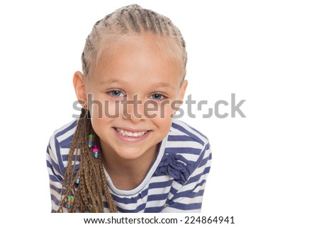 Closeup portrait of a little girl on a white background. Girl six years. - stock photo