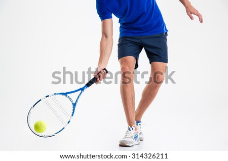 Closeup portrait of a man playing in tennis isolated on a white background - stock photo
