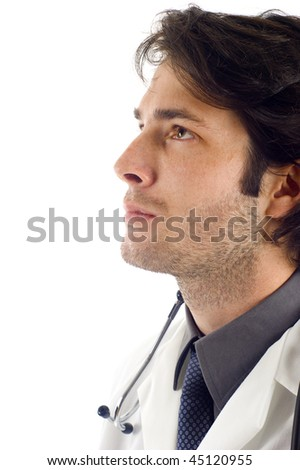 Closeup portrait of a medical doctor looking at the copyspace