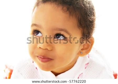Closeup portrait of a pretty little girl - stock photo