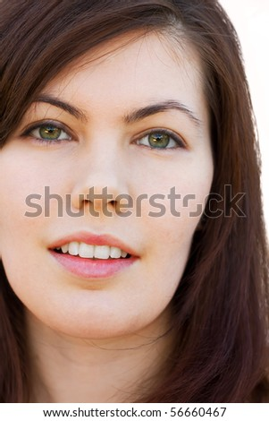 Closeup Portrait Of A Pretty Young Woman - stock photo