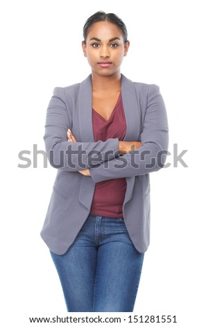 Closeup portrait of a relaxed young woman with arms crossed isolated on white background - stock photo