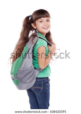 closeup portrait of a schoolgirl looking back - stock photo