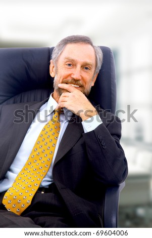 Closeup portrait of a senior man smiling on white background - stock photo