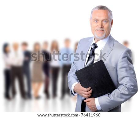 Closeup portrait of a senior mature professor - stock photo