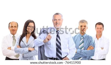 Closeup portrait of a senior mature professor with team - stock photo