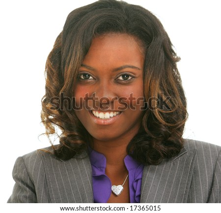 Closeup portrait of a sexy businesswoman on an isolated background. - stock photo