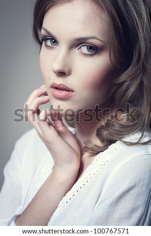 Closeup portrait of a sexy young woman with natural makeup