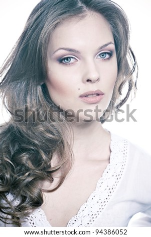 Closeup portrait of a sexy young woman with natural makeup - stock photo