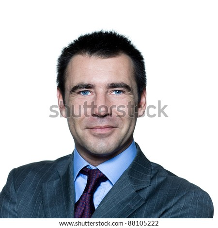 Closeup portrait of a smiling handsome businessman in studio on isolated white background - stock photo