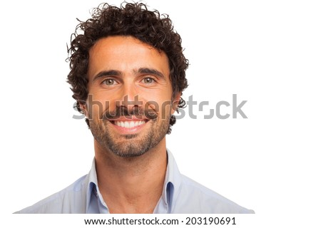Closeup portrait of a smiling man. Isolated on white - stock photo
