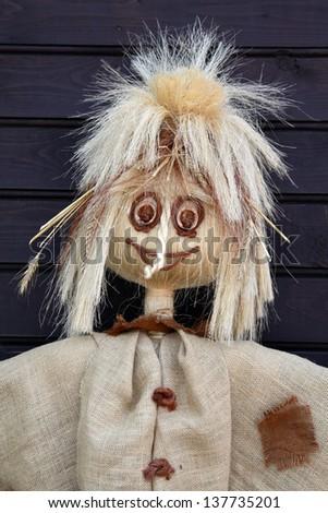 Closeup Portrait Of A Smiling Scarecrow - stock photo