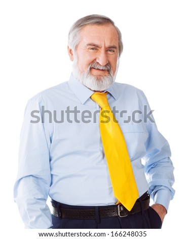 Closeup portrait of a smiling senior Isolated on white background