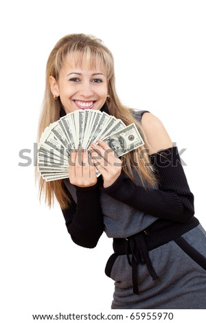 Closeup portrait of a smiling young beautiful woman showing cash isolated on white background