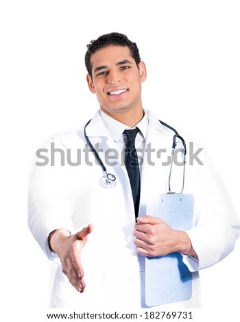 Closeup portrait of a smiling young male doctor with stethoscope, holding clipboard, giving handshake, isolated on white background. Patient doctors visit and health care plan. Cardiology appointment. - stock photo
