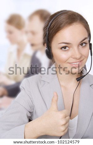Closeup portrait of a successful female customer service representative smiling