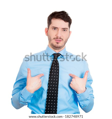 Closeup portrait of a surprised angry young man, unexpectedly, asking question you talking to, mean me? Isolated on white background. Negative emotions, facial expressions, feelings, reaction - stock photo