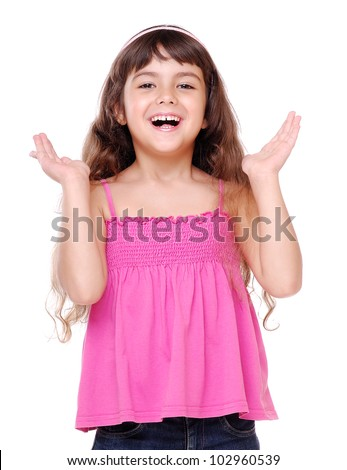 Closeup  portrait of a surprised little girl - stock photo
