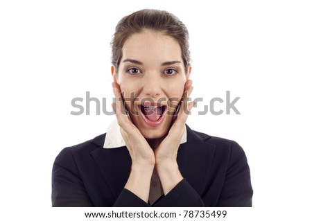 Closeup portrait of a surprised young woman isolated overwhite background - stock photo