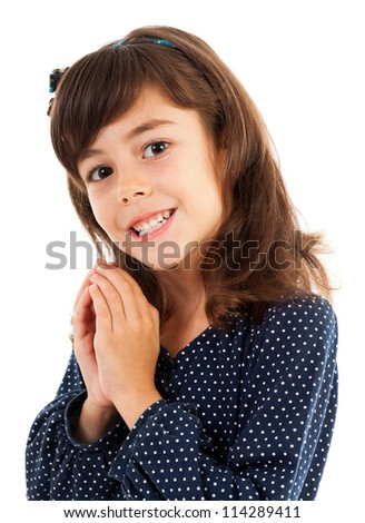 Closeup portrait of a sweet little girl isolated on white background - stock photo