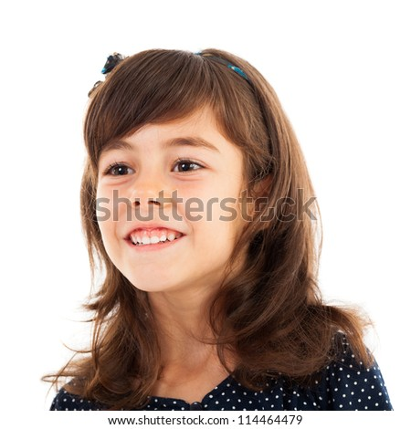 Closeup portrait of a sweet little girl isolated on white background